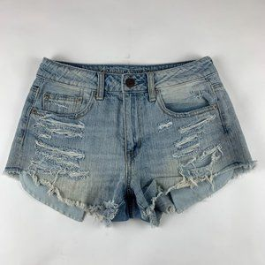 American Eagle Shredded Hi Rise Festival Shorts 4